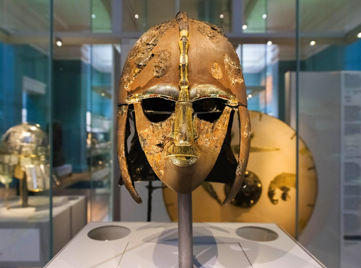The Sutton Hoo Helmet, part of the Sutton Hoo treasure, British Museum, London, England, UK