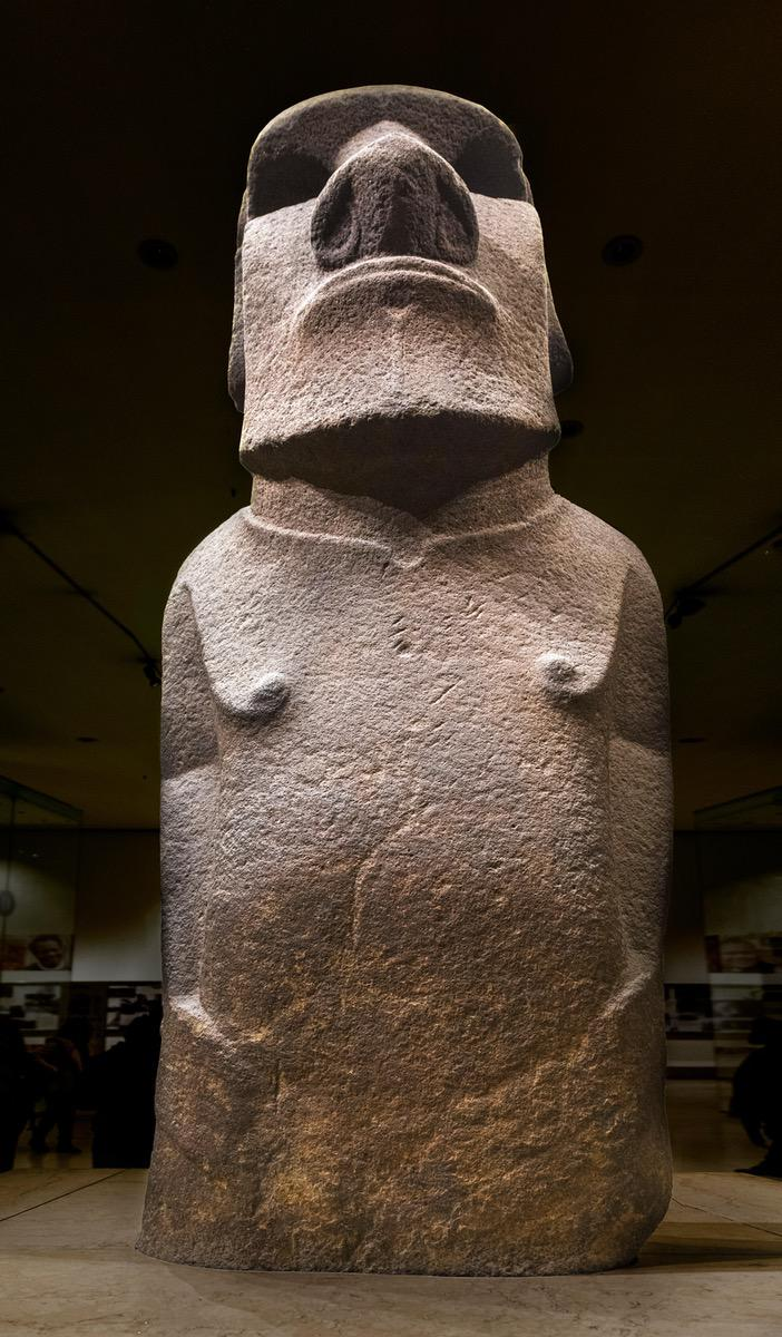 Hoa Hakananai'a, a moai or Easter Island Statue, Wellcome Trust Gallery, British Museum, Bloomsbury, London, England, UK