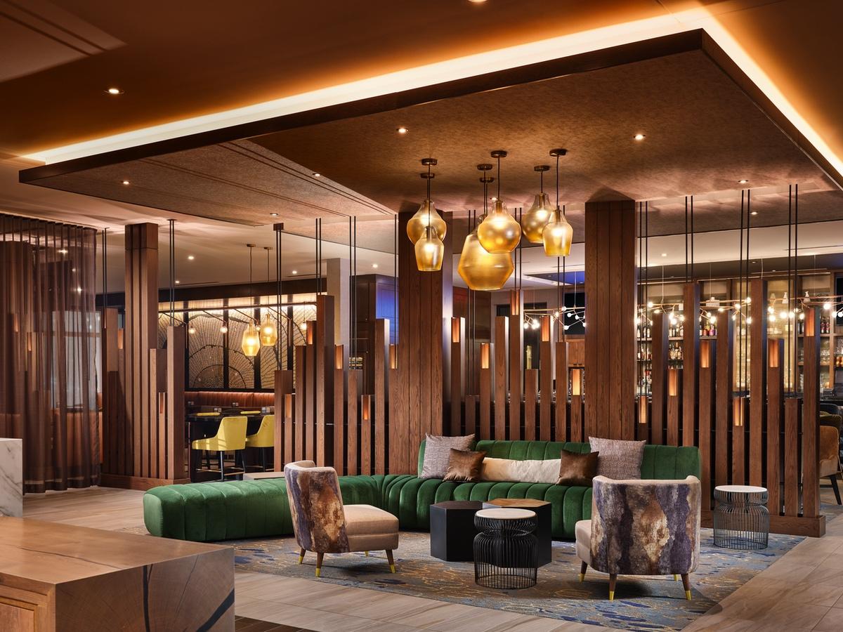 hyatt-Forester lobby toward bar dusk - A